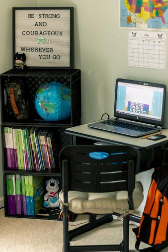 PA cyber school home learning space