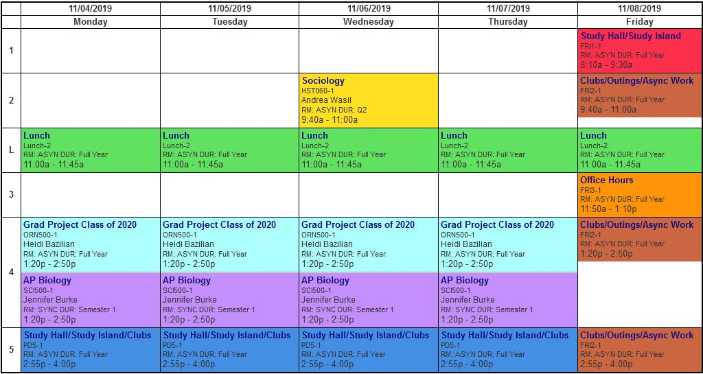 weekly async schedule